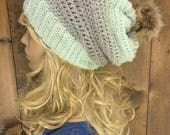 Crochet Slouchy Hat Faux Fur Pom Pom / MERAKI / Featured in the colour Ombre