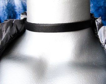 Thin Plain Black Leather Choker Necklace - 10mm wide - Adjustable Length