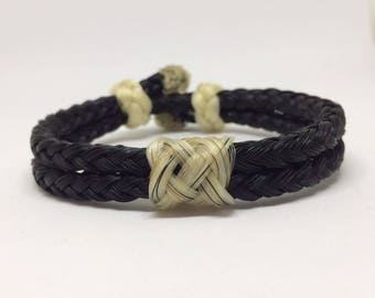 Traditional Adjustable Horse Hair Horsehair Bracelet With Sliding Knot Clasp - 6MM Round Braid