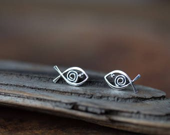 Celtic Fish Stud Earrings, Sterling Silver Wire Outline with Spiral and Dot Eye, Handmade Silver Studs, Aquarium Series