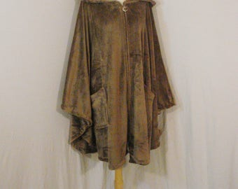 Wrap Poncho Cape Plush Tan Cozelle Plust Cover Up Outerwear Chic One Size