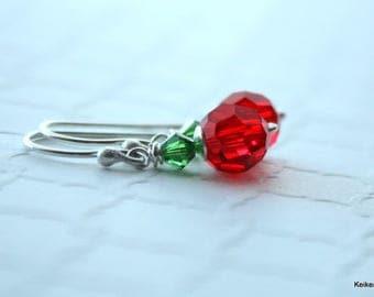 SALE Crystal Earrings , Red Christmas Earrings , Red and Green Earrings , Dangle Earrings