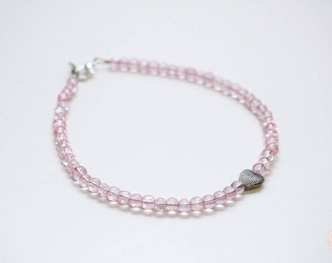 Pink Beaded Anklet with silver Heart feature.