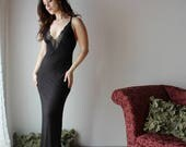 long bamboo nightgown with plunging neckline and lace trim - ICON bamboo sleepwear and lingerie range - made to order