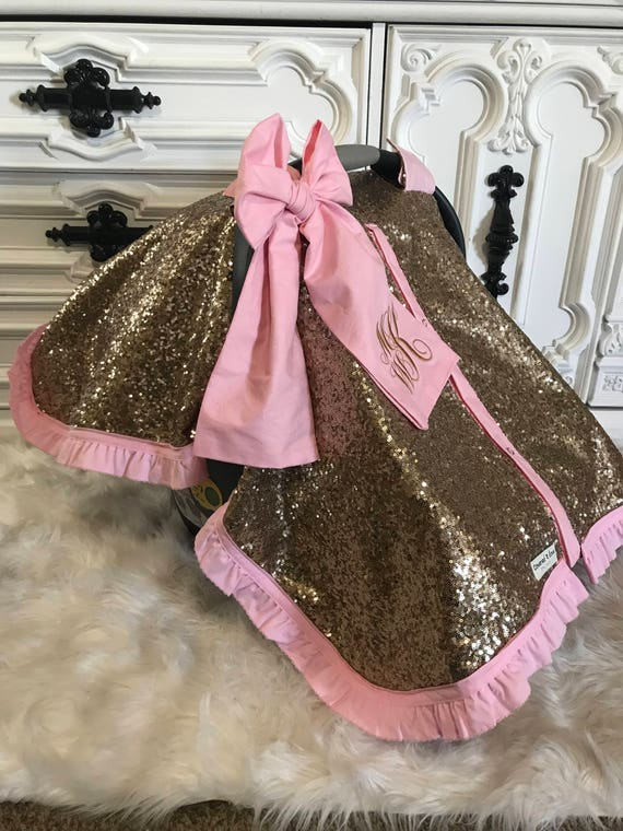 Gold sparkle car seat canopy , comes with ruffle , jumbo bow and custom embroidery on bow , carseat cover , nursing cover , car seat canopy
