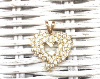 Vintage - Golden Rhinestone Heart Pendant - Costume - Bling