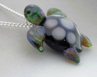 Sea Turtle Blown Glass Pendant, Hand Blown Glass Turtle Necklace, Spotted Back Boro Glass, Lampwork Focal Bead, Your Choice of Necklace Free