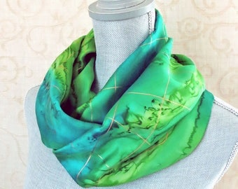 Hand Painted Silk Scarf in Peridot and Teal Greens with Gold Accent