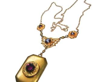 Antique Edwardian Photo Locket Necklace Big & Ornate Amethyst Jeweled