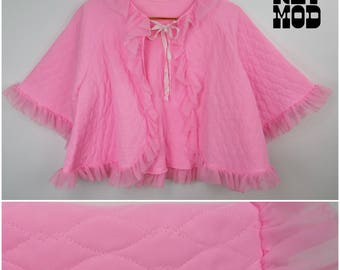Lovely Bright Pink Vintage 60s Quilted Night Coat with Ruffles and Quilting