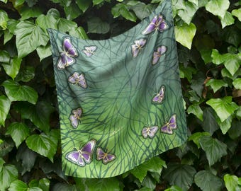 Mother Day Present Large Elegant Hand painted Silk Foulard Square Head Hair Scarf  with Flying Butterfly Green Moss Green Purple