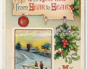 Vintage Christmas Greeting Postcard - International Art Publishing - 1910