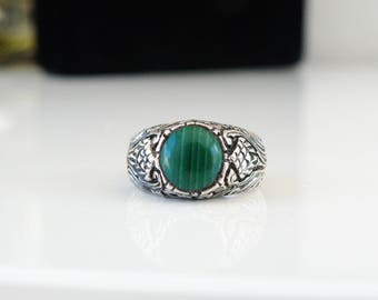 Vintage Designer 925 Sterling Silver Scroll Antique Reproduction Green Malachite Unique Ring Size 6