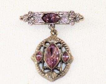 Vintage Dangling Silver Tone Amethyst Rhinestone Brooch Pin  (B-1-4)