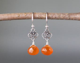 Carnelian Dangle Earrings - Silver Wire Wrapped Earrings - Bali Silver Earrings - Orange Gemstone Earrings -  Silver Link Earrings Gift
