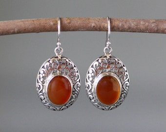 Carnelian Earrings - Silver Filigree Earrings - Bali Silver Earrings - Silver Bezels - Carnelian Jewelry - Statement Jewelry - Gift for Her
