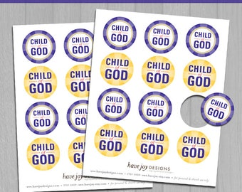 2018 LDS Primary Theme 2-inch Round Tiles Printable (Instant Download) - I Am a Child of God