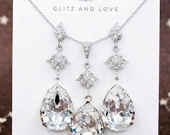 Reese - Swarovski Teardrop Crystal Earrings, Bridal Jewelry Earrings, Bridesmaid Earrings, Wedding Jewelry, Bridal Accessories