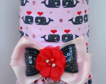 Dog Harness Vest - Nautical Whales - Dog Harness Dress - SMALL Ready to Ship
