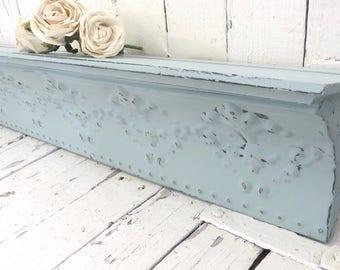 """Blue Wall Shelf, 36"""" Long Shelf, Metal Shelf, Long Wall Shelf, Architectural Decor, French Country Decor, Shabby Shelf, Rustic Chic Shelf"""