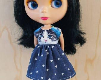 Blythe Dress - Love Heart Kitty