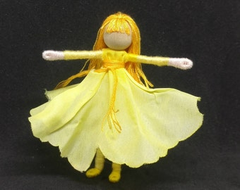 Golden Flower Fairy - Fairy Doll - Waldorf Doll - Bendy Doll - Art Doll