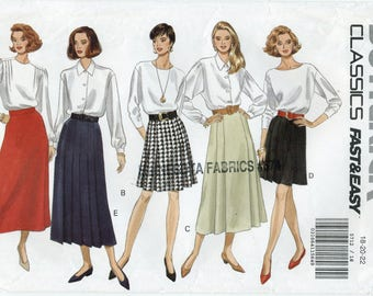 Tailored A-Line or Flared Skirt Sewing Pattern Plus Size 18 20 22 Butterick 5712 UNCUT Short or Calf Length, Waistband, Side Zipper, Pleated