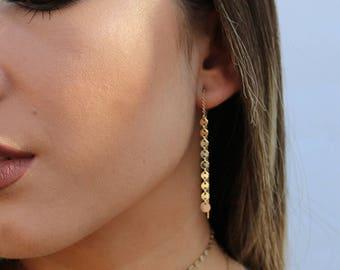 Disc Threader Earrings, Dangling Disc Ear Threads, 14kt Gold Filled, Sterling Silver 14kt Rose Gold Filled