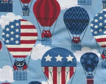 """OWLS IN BALLOONS-Patriotic Fabric- Cotton - 1 yard x 42"""""""