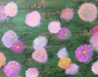 Hand-Painted Wood Greeting Card- pink, peach, salmon, rose & purple flowers on a spring green background
