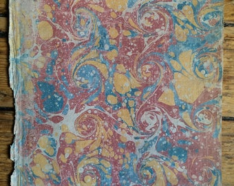c. 1679 - MARBLED PAPER - ANTIQUE paper -  red gold & blue colored hand made marbled end papers - original antique decorative end papers