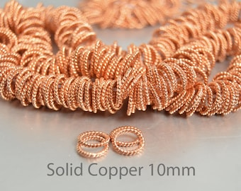 20 Solid Copper Rings, 10mm Soldered Jump Rings, Twisted Rope Rings In Shiny Copper, Copper Links, Twisted Links, Stitch Markers