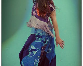 Upcycled Recycled Plaid Check Pinstripe Cotton Shirts & African Bluebird Print Harem Pants ReMade in Brighton England UK