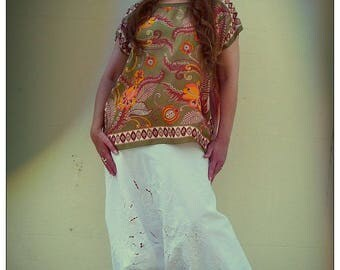 Upcycled Recycled White Embroidered Harem Pants                ReMade in Brighton England UK