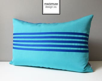 Decorative Cobalt Blue & Turquoise Outdoor Pillow Cover, Modern Color Block Pillow Cover, Sunbrella Colorblock Cushion, Mazizmuse Aligned