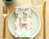 Llama + Cacti Cloth Napkins