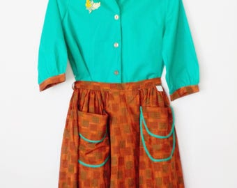 Vintage Mid Century School Girl Dress • Juniors Girls Dress Top and Skirt • Fall Colors • Penny's New with Tags