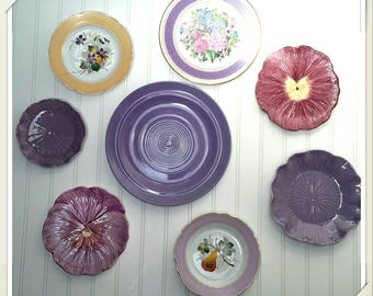 Purple English China Plate Collection of vintage plates for wall decor (set of 8) mismatched tea sets