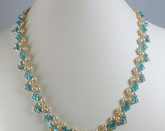 Necklace Woven Pearl and Swarovski Crystal ABx2
