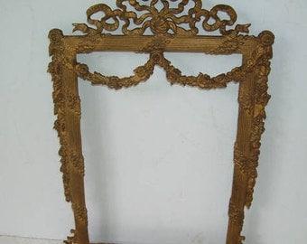 Vintage Fancy Brass Wall Hanging Sculpture, Brass Frame, Wall Hanging, Picture Frame, Shabby Chic, Victorian Charm, Swirled Brass Frame