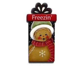 Ginger Present Ornament or Fridge Magnet, Handpainted Wood, Gingerbread Ornament Refrigerator Magnet, Hand Painted Ginger Ornament, Tole