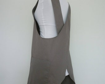 Gray Twill Cross-back Japanese Apron , Japanese Apron, Pinafore Japanese Apron.