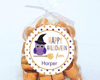 Halloween Stickers - Happy Halloween Owl - Sheet of 12 or 24