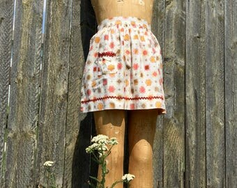 vintage half apron pink orange rust brown with pocket