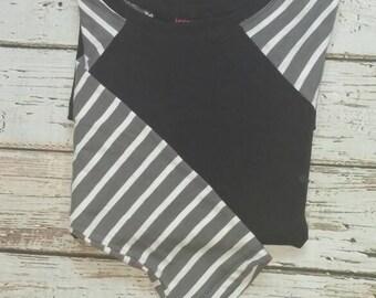 Gray White and Black Stripe Baseball Sleeve Tunic