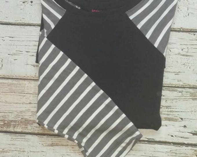 Gray White and Black Stripe Baseball Sleeve Tunic
