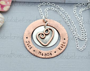 Hand Stamped Necklace, Mothers Personalized Necklace, Copper and Silver Washer Necklace, Personalized Mothers Gift, Metal Stamped Necklace