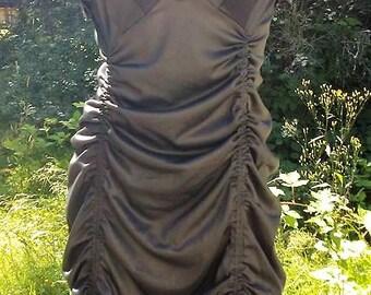 Black Ruffled Up Cycled Dress