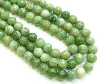 8mm round Green Jade Semi Precious Stone Beads, Full Strand