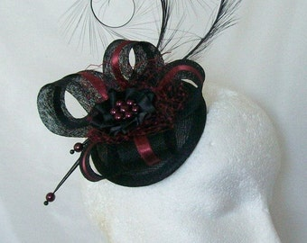 Black & Burgundy Wine Pheasant Curl Feather Sinamay and Pearl Isabel Wedding Fascinator Mini Hat -  Made to Order